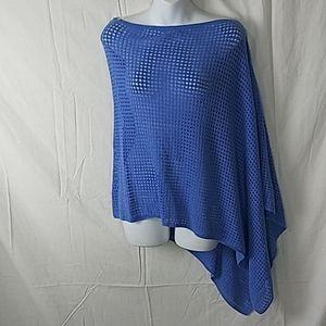 J Jill blue knit shawl cardigan osfm